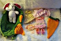 Bunny Play Set with Cradle/Purse to Crochet by SandysCapeCodOrig, $6.95