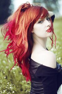 Copper red hair with fire engine red and hot pink blend ombre!