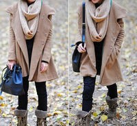 Warm wool and blended fabric of A glyph coat  Single-breasted one coat  More can convey the east side of the gentle girl wen wan  Big hats  Big tail coat don't worry wear not good-looking  Woollen fabrics, adopt unique even cap design, every da...