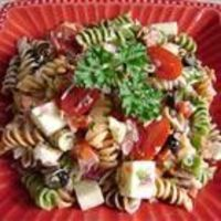 Pasta salad with homemade dressing.