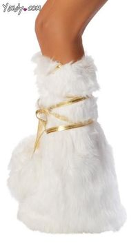 Deluxe Unicorn Legs - Deluxe, white, faux fur legwarmers with attached, metallic gold, wrap around ties with pom pom ends