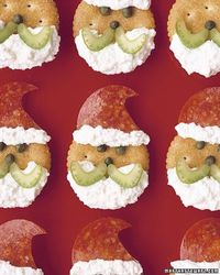 Use kitchen scissors to cut a pepperoni hat; attach to cracker with a dab of ricotta. Spread on a ricotta beard. Add celery slices for mustache and capers for eyes and nose. Cover bottom of hat with more ricotta for fluffy trim. (from Martha Stewart&#...