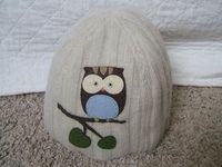 owl beanie from felted sweater