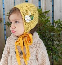 Mustard Yellow Bonnet With Silk Ties.