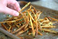 Crispy Baked Garlic Fries. How to cook them, and tips for how to make sure they come out crispy!