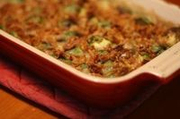 Mushroom and Brussels Sprouts Gratin Casserole