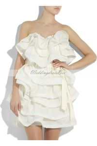 Strapless satin dress with adorable ruffles - rehearsal dinner to bachelorette party?? Cute!!