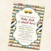 baby boy shower invitation with cars printable digital file (item 1264). $13.00, via Etsy.