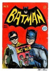 Golden Age Batman infinity cover homage with Silver Age TV Batman, Adam West, and Robin, Burt Ward. What's not to like! Characters and such copyright DC Entertainment.