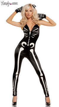 No bones about it! Sexy glow in the dark skeleton costume! #halloween #costume #skeleton #glow #in #dark #sexy