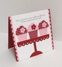 Love this Stampin' Up! cupcake punch, and how it was used with just two tones of paper to create this sweet card!