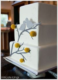 Love birds cake. Have the entire paper goods line and then flower it right into the wedding.