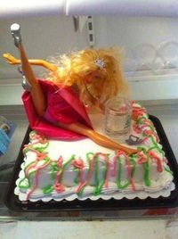Drunk Barbie Cake ~ great for 21st Birthday or possible Bachellorette party cake??