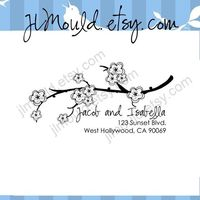 Couture Cherry Blossom Flower Return Address Custom Stamp 0024 (clear stamp). $18.95, via Etsy.