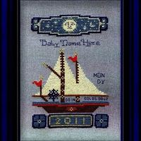 Boy Boat Birth Record - Cross Stitch Pattern