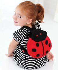 Lady Bug Backpack free pattern, Red Heart yarn