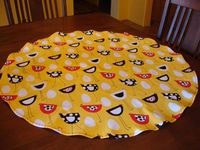 Kitchen Table Topper, Round Table Topper, Contemporary Chickens