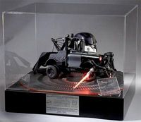 """""""Darth Matter,"""" Star Wars/Cars/Mattel Mash-up 1:12 one of a kind model. It was made for the Children Affected by AIDS Foundation and auctioned off. Plaques signed by George Lucas and John Lassiter prove the pedigree... I'm still wrapping my he..."""