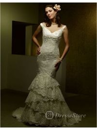 V-neck Lace Chapel Train A-line Wedding Dress(AUSTVNECK0100)