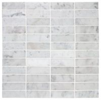 Stacked Carrara Marble Mosaic traditional bathroom tile