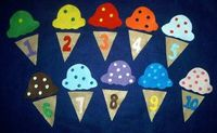 20 piece ICE CREAM MATCHING FLANNEL BOARD FELT STORY SET + Bonus craft