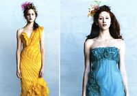 """I""""m in love with the yellow one. one shoulder, pleats!, asymmetrical, shape, v neck..."""