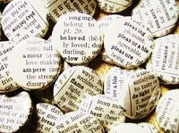 pinback buttons made from antique dictionary