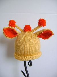 Giraffe Baby Hat PATTERN Newborn to Toddler by sheilalikestoknit,