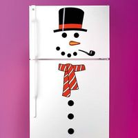 Decorate the fridge to look like a snowman.