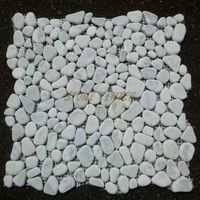 Carrara White (Bianco Carrera) Crazy Mix Pebble Stone Mosaic Tile Tumbled - Marble from Italy - for shower floor