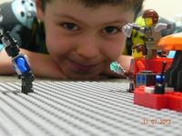 My friend's son Xander, reaching back into the archives of the Doctor to 'Earthshock'. In Lego, natch.