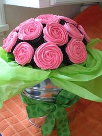Chocolate and Pink Cupcake Bouquet