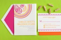 Sweet hot pink and tangy orange invites