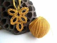 Mustard Yellow Sunny Pendentif with Crinkle Silk by MaryKCreation, $32.00