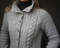 beautiful grey cabled sweater